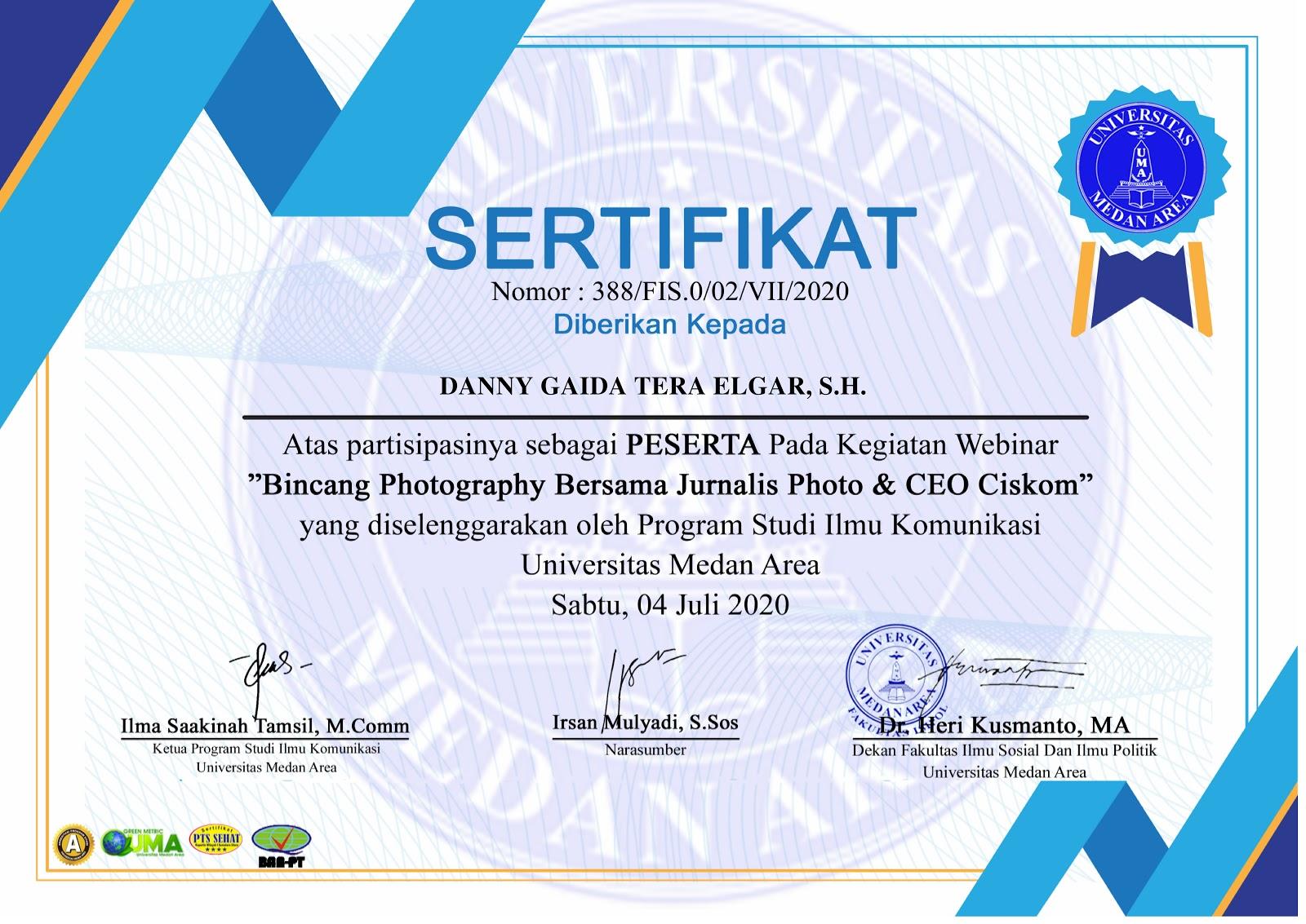 Sertifikat Bincang Photography Bersama Jurnalis Photo & CEO Ciskom | Prodi Ilmu Komunikasi Universitas Medan Area (UMA)