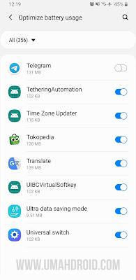 Pengaturan Optimize Battery Usage Samsung