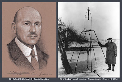 Dr. Robert H. Goddard. First Liquid-Fueled Rocket. Auburn, Massachusetts. March 16, 1926. by Travis Simpkins