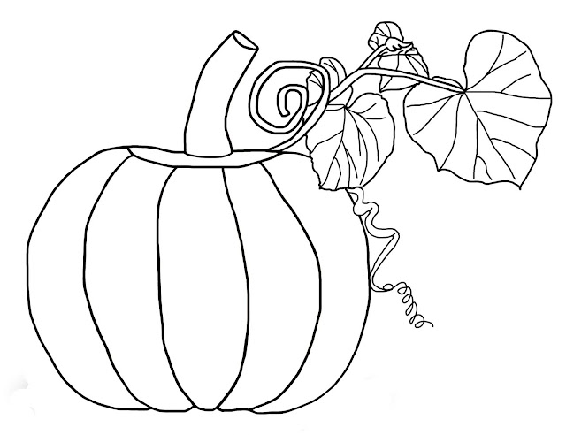 A drawing of a pumpkin with leaves, right out of the pumpkin patch.