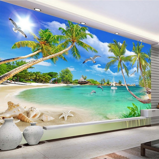 Nature Wall Murals 3d Photo Wallpaper Beach Tree Waves Tropical Ocean