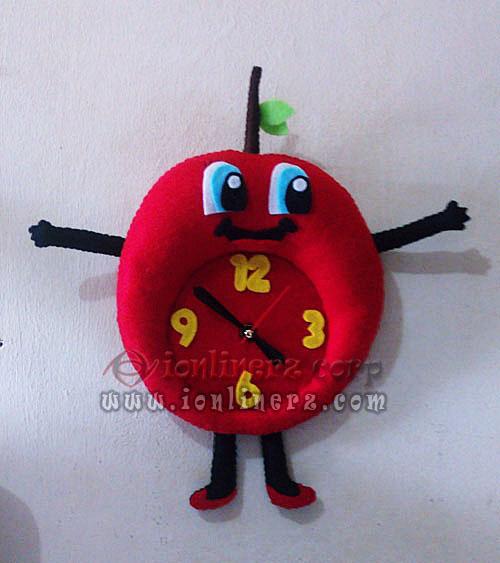 Jam Dinding Flanel Karakter Kartun Boneka Buah Cherry