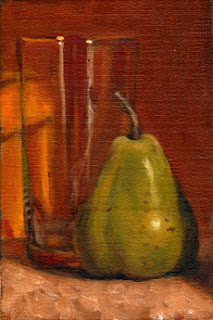 Oil painting of a green pear beside a cider glass with an orange background.