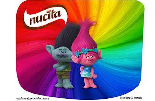 Etiqueta Nucita de Trolls para imprimir gratis.