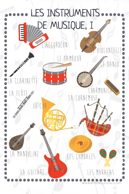 es instruments de musique, vocabulaire, infographie, FLE, le FLE en un 'clic'