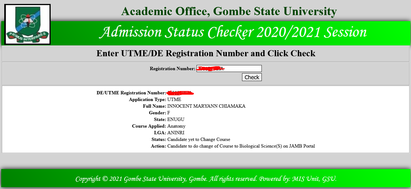 GSU Provisional Admission List 2020/2021 | 1st Batch