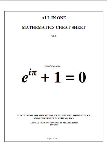 mathematics formulas pdf notes cheat sheet book