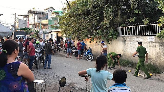 Cảnh sát phong tỏa hiện trường điều tra vụ một công an viên bị đánh chết