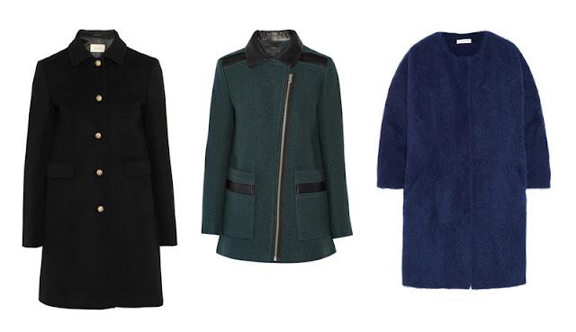 Черное прямое пальто, серое приталенное пальто и синее пальто-кокон
