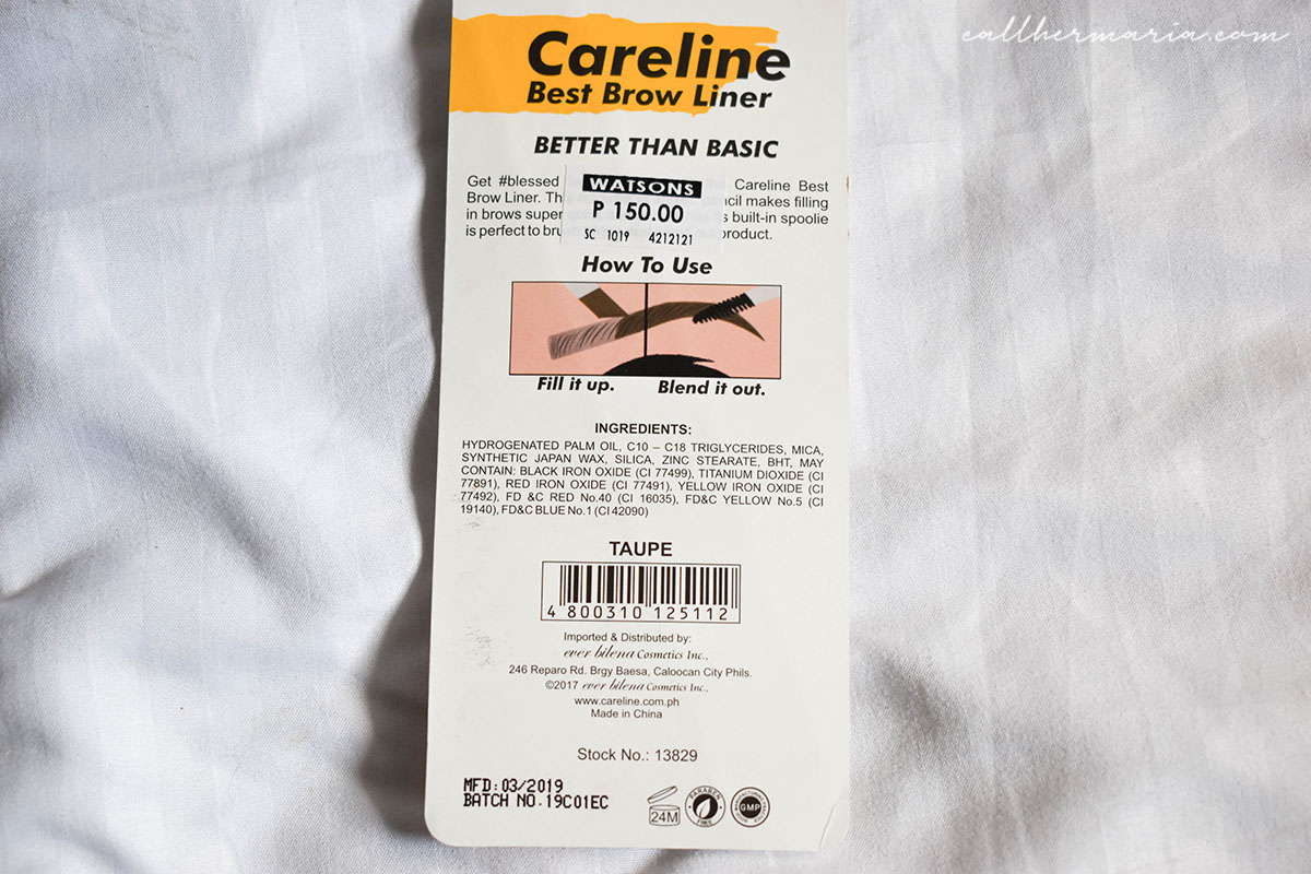 Careline Best Brow Liner Packaging Product Details
