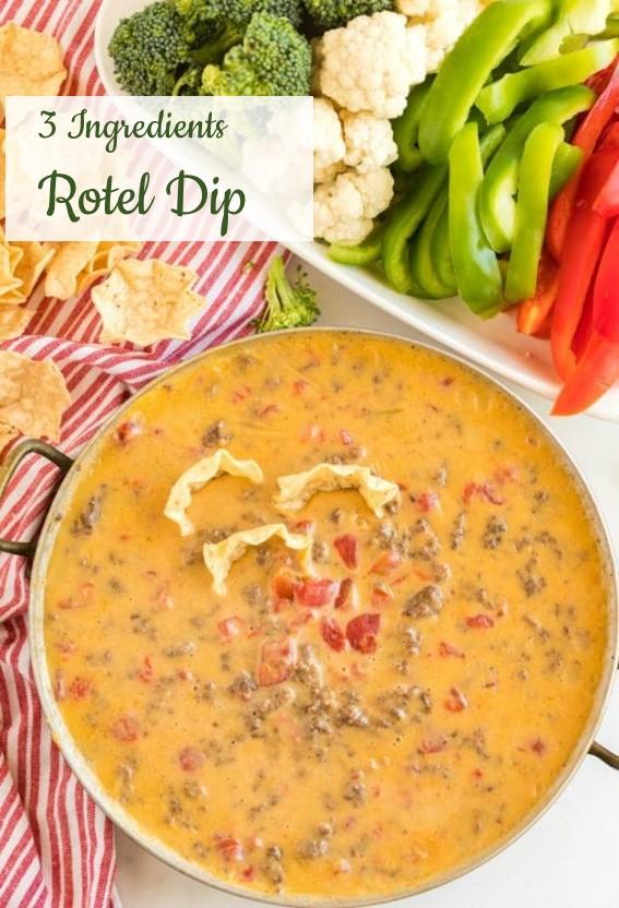 3 Ingredients Rotel Dip #Rotel #Dip #Beef #GameDay #Appetizer