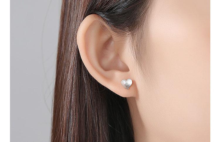 簡約風愛心 925純銀耳環