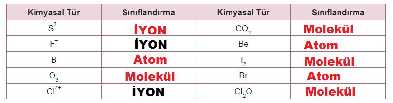 atom, molekül veya iyon