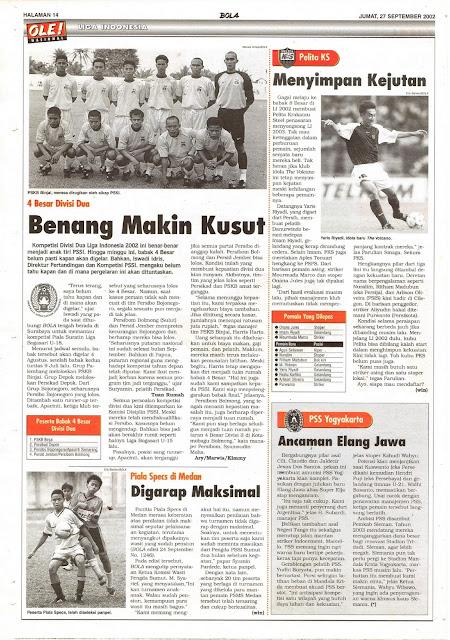LIGA INDONESIA: 4 BESAR DIVISI DUA BENANG MAKIN KUSUT
