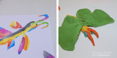 butterflies made from collage and playdough