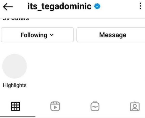 #BBNaija star Tega Deactivate her Instagram page hours after saying she is mentally exhausted