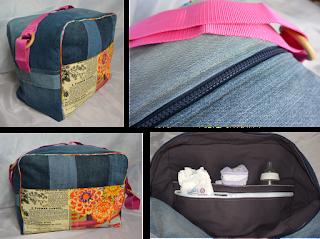 Grosse capacité, 45 x 35 x 25 cm. Fait de pans de jeans montés façon patchwork, passe poil tout au tour du sac, 2 poches extérieures en coton imprimé vintage et vieux papiers, fermeture éclair bleu marine, les deux cotés du sac sont différents, l'un monté horizontalement alors que l'autre est cousu verticalement, anse rose en nylon maintenue par deux anneaux en bois. Intérieur en coton violet avec 3 poches dont une à zip.