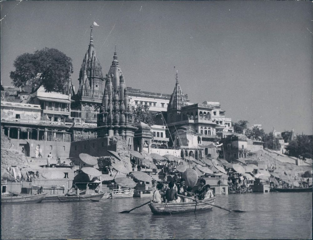 Temples, Ghats and Umbrellas on the Bank of River Ganges in Varanasi (Benares) - 1953
