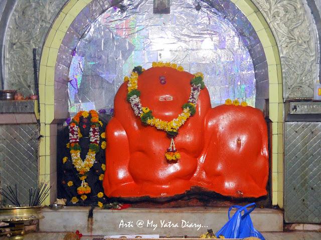 A view of the sanctum sanctorum in the Bhairavnath temple, Saswad, Pune, Maharashtra