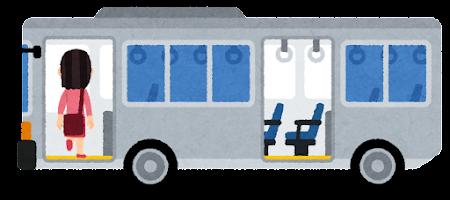 バスに乗る人のイラスト(女性・前のドア)