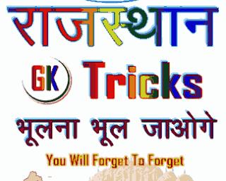 Rajasthan GK tricks in Hindi PDF free download