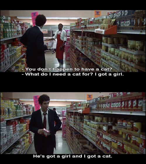 Elliott Gould basically plays the crazy cat lady from The Simpsons, except he's able to form sentences.