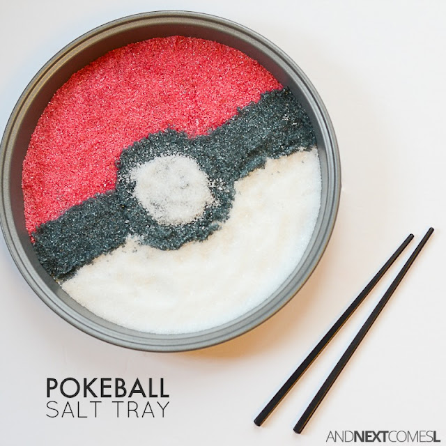 Pokemon activity for kids: make a Pokeball inspired salt tray for writing practice from And Next Comes L