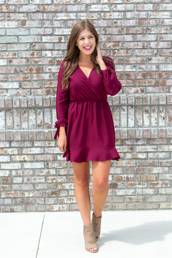Carolina Girl Burgundy Dress- Cotton Ave Boutique