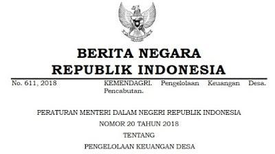 Permendagri RI No 20 Tahun 2018