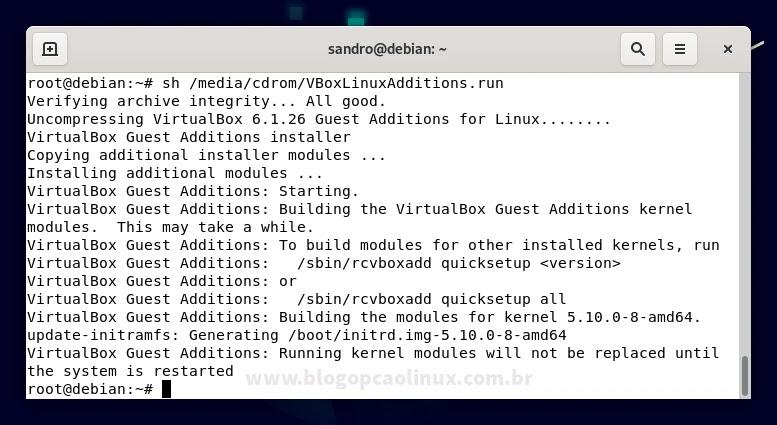 Exemplo de saída do comando ao instalar os Adicionais para Convidado no Debian 11