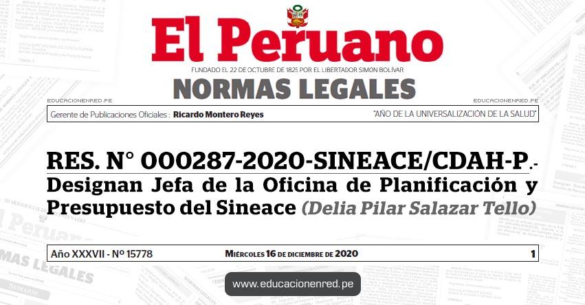 RES. N° 000287-2020-SINEACE/CDAH-P.- Designan Jefa de la Oficina de Planificación y Presupuesto del Sineace (Delia Pilar Salazar Tello)