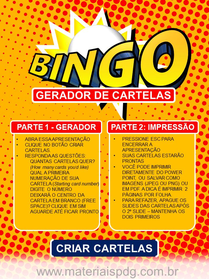 BINGO - GERADOR DE CARTELAS