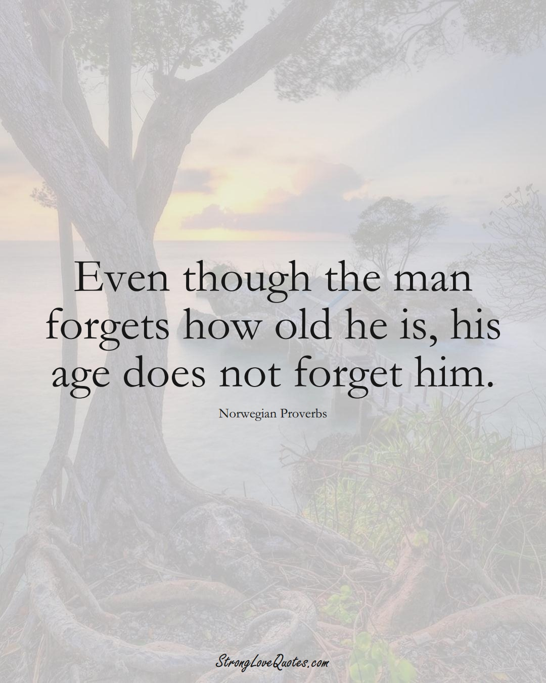 Even though the man forgets how old he is, his age does not forget him. (Norwegian Sayings);  #EuropeanSayings
