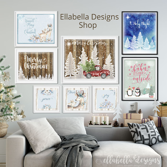 Christmas Wall Art Printables by Ellabella Designs