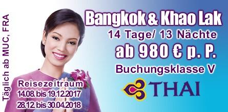 Kombireise Thailand, Thai Airways, Buchungsklasse V