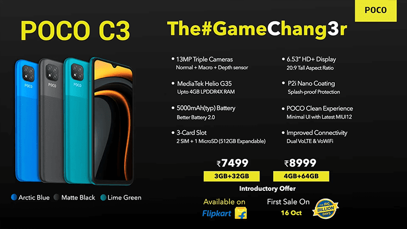 POCO C3 launched, a Redmi 9C with up to 4GB RAM
