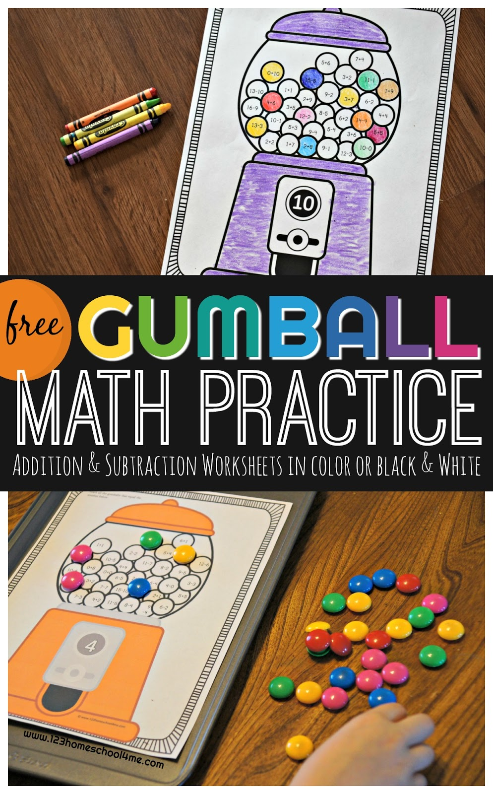Gumball Addition and Subtraction Practice