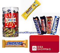 Con M&M's, Skittles, Mars, Snickers, Twix, Bounty,Celebrations vinci 48 Card Ideashopping da 100 euro