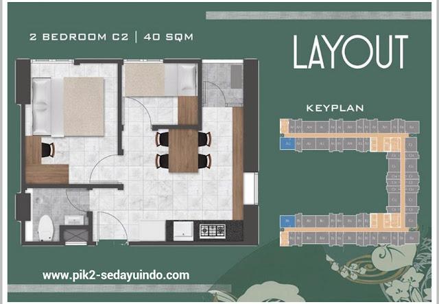 Tokyo Riverside Apartment PIK 2 Tipe 2 BR 40 m2