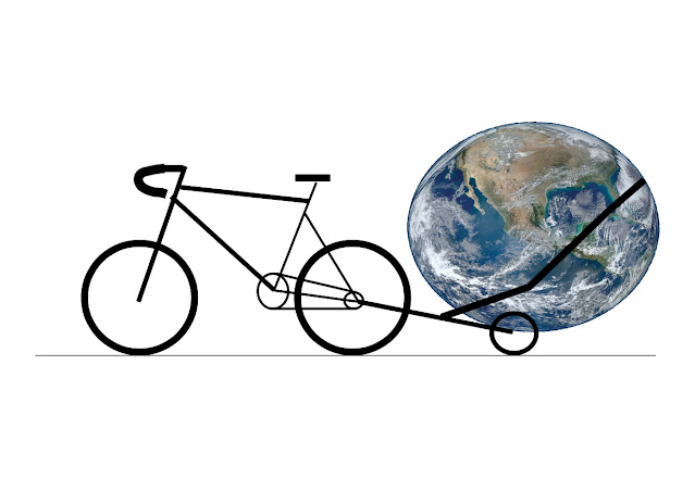 bike with trailer carrying the earth