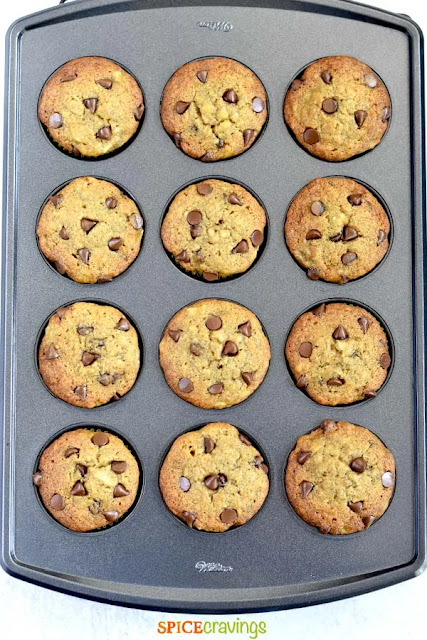 pan of banana chocolate chip muffins
