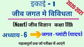 class 11th biology solution in hindi unit-1 अध्याय - 6  जगत-प्लाण्टी (पादप)