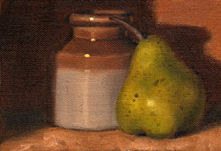 Oil painting of a green pear beside a two-tone brown earthenware jar.