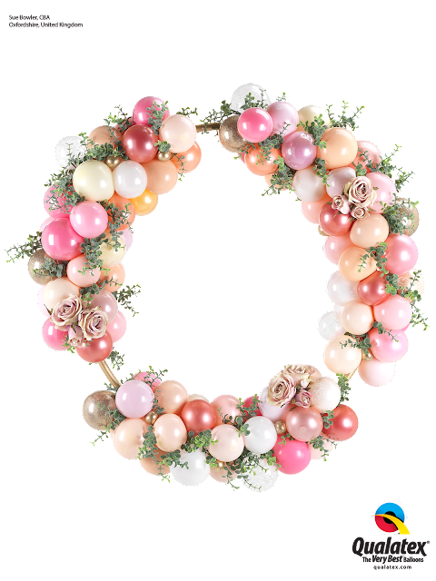 Stunning Wedding Hoop featuring balloons and flowers in elegant shades of Pink and Peach