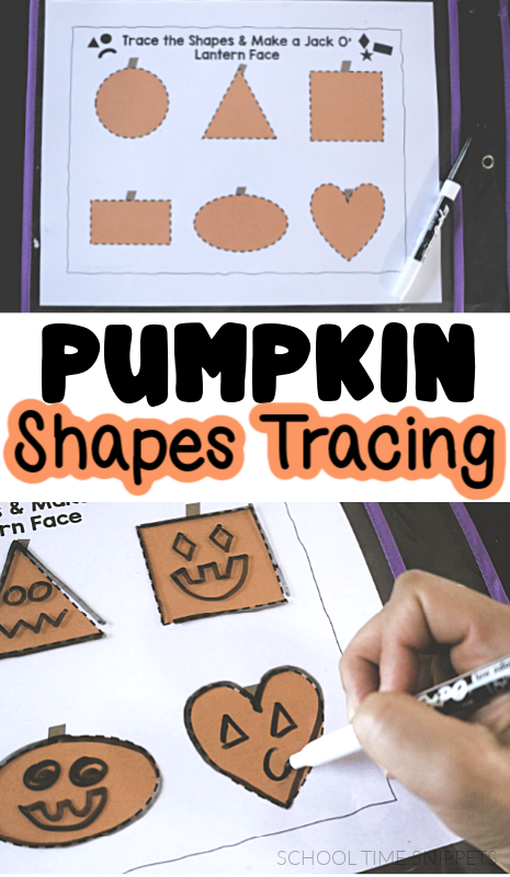 shapes tracing pumpkin worksheets