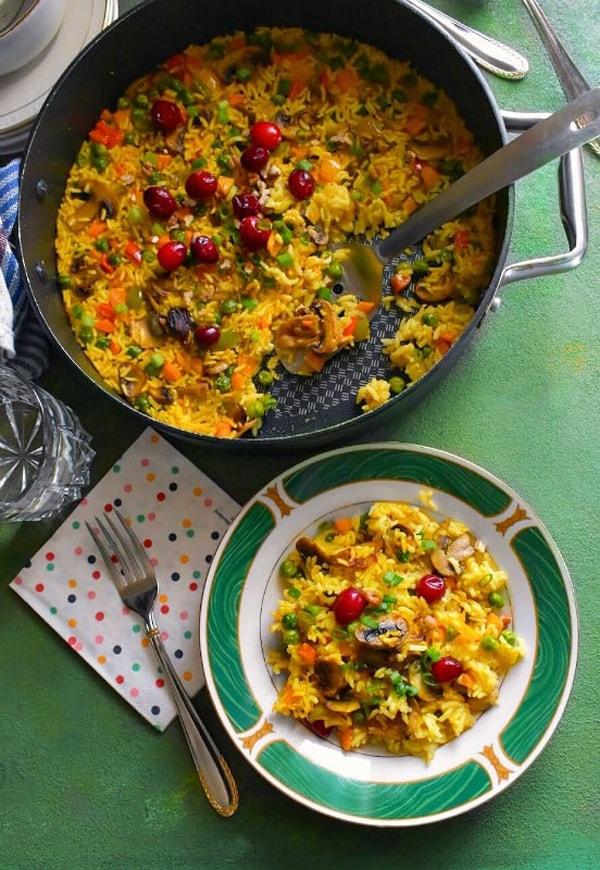 mushroom vegetables rice pilaf recipe