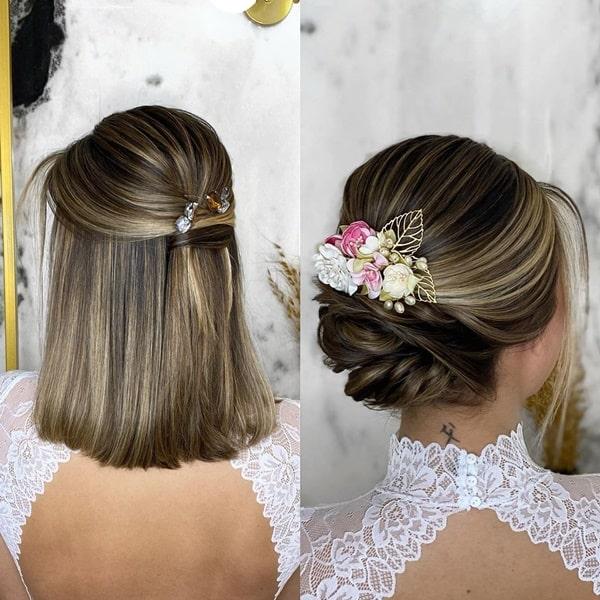 penteado de festa para cabelo curto coque lateral  e semi preso