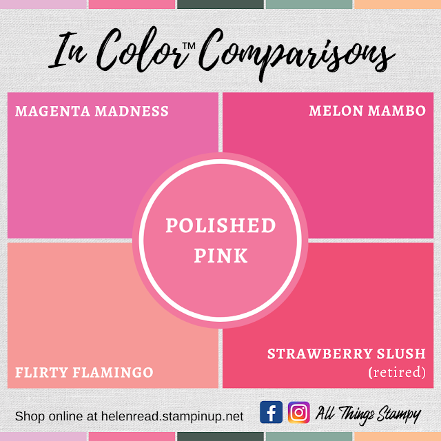 Stampin Up In Colors 2021 colour comparisons Polished Pink