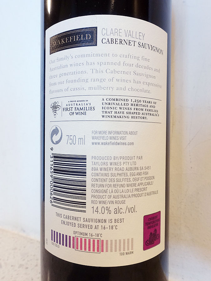 Wakefield Estate Cabernet Sauvignon 2017 (back label)