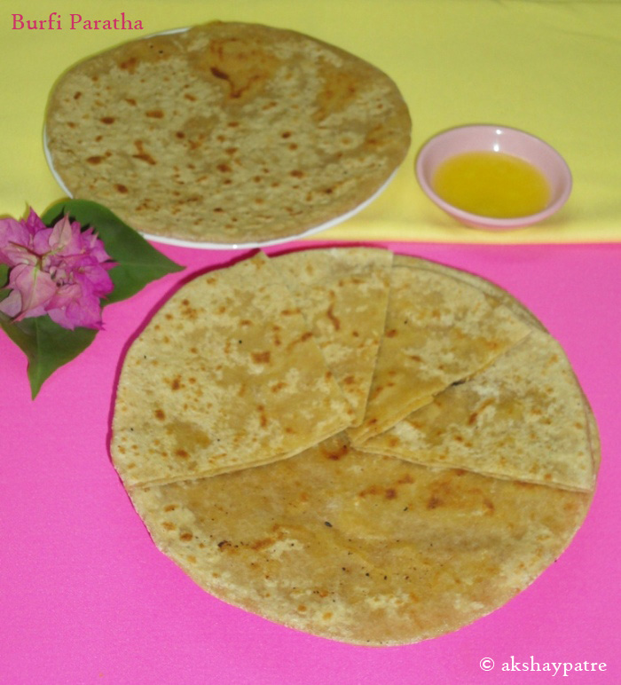 burfi-paratha in a serving plate